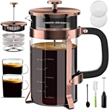 Upgraded French Press Coffee Maker Stainless Steel 34 oz, Coffee Press with Stainless Steel Stand Precise Scale Easy to Cl...