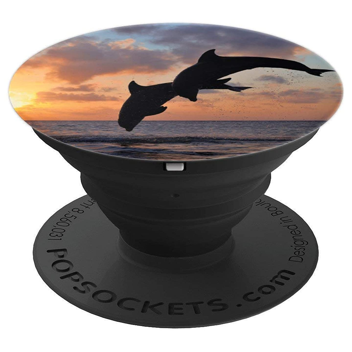 Sunset Dolphins - Cell Phone Mount & Hand Holder Knob 6460 - PopSockets Grip and Stand for Phones and Tablets