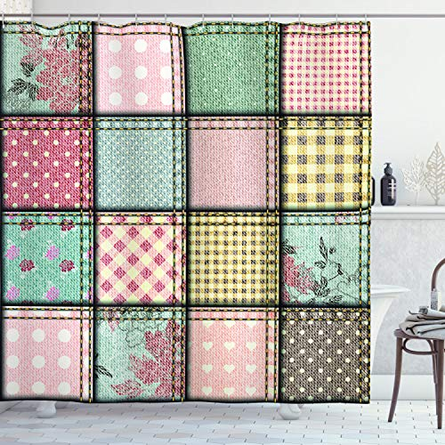 """Ambesonne Shabby Flora Shower Curtain, Vintage Style Patchwork Design Colorful and Details Vibes, Cloth Fabric Bathroom Decor Set with Hooks, 70"""" Long, Seafoam Blush"""