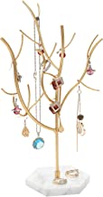 QILICHZ Gold Jewelry Tree Stand Jewelry Display Stand Earring Necklace Holder Jewelry Hanger Rack Organizer with Marble Tray for Earrings Ring Necklace Bracelet Home Decor