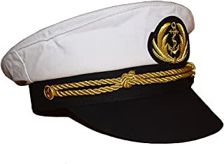 Chiclinco Admiral Captain Yacht Hat with Adjustable Snapback & Gold Embroidery Anchor Skippers Cap for Club Pub Party Costume Accessory (White)
