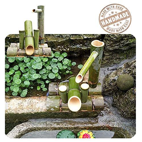 WishY Bambusbrunnen, Bambusbrunnen Gartenbrunnen, Bambus Wasserlandschaft Skulptur Dekoration Statue, Wasserlandschaft Gartendekoration, Aquarium,15.75in
