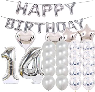 Sweet 14th Birthday Decorations Party Supplies,Silver Number 14 Balloons,14th Foil Mylar Balloons Latex Balloon Decoration,Great 14th Birthday Gifts for Girls,Women,Men,Photo Props