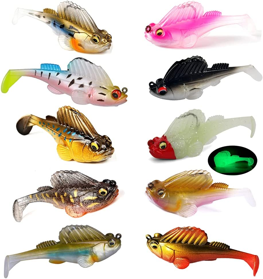 SANTKOL Fishing Lures for Bass,Soft Swimbaits with Hidden Pre-Rigged Ultra-Sharp Hooks, Fishing Lures Saltwater& Freshwater,Trout Pike Bass Fishing Jigs with Paddle Tail,Lifelike Swimbait(10PCS)