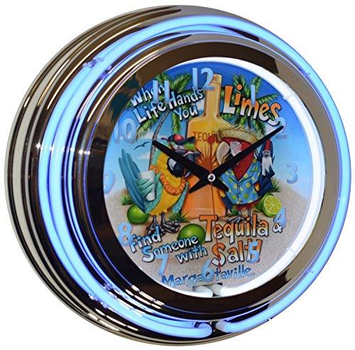 Tequila Limes Salt Margaritaville Blue Double Neon Beer Clock Man Cave Pub Decor