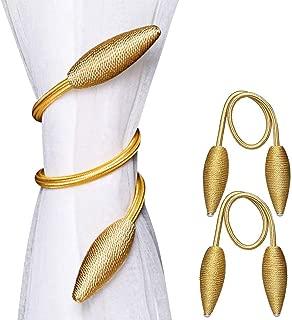 Manfore 2 Pieces Curtain Tiebacks Clips Creative Window Drape Twist Tie Backs Random Modelling Decorative Draperies Holdbacks(Gold)