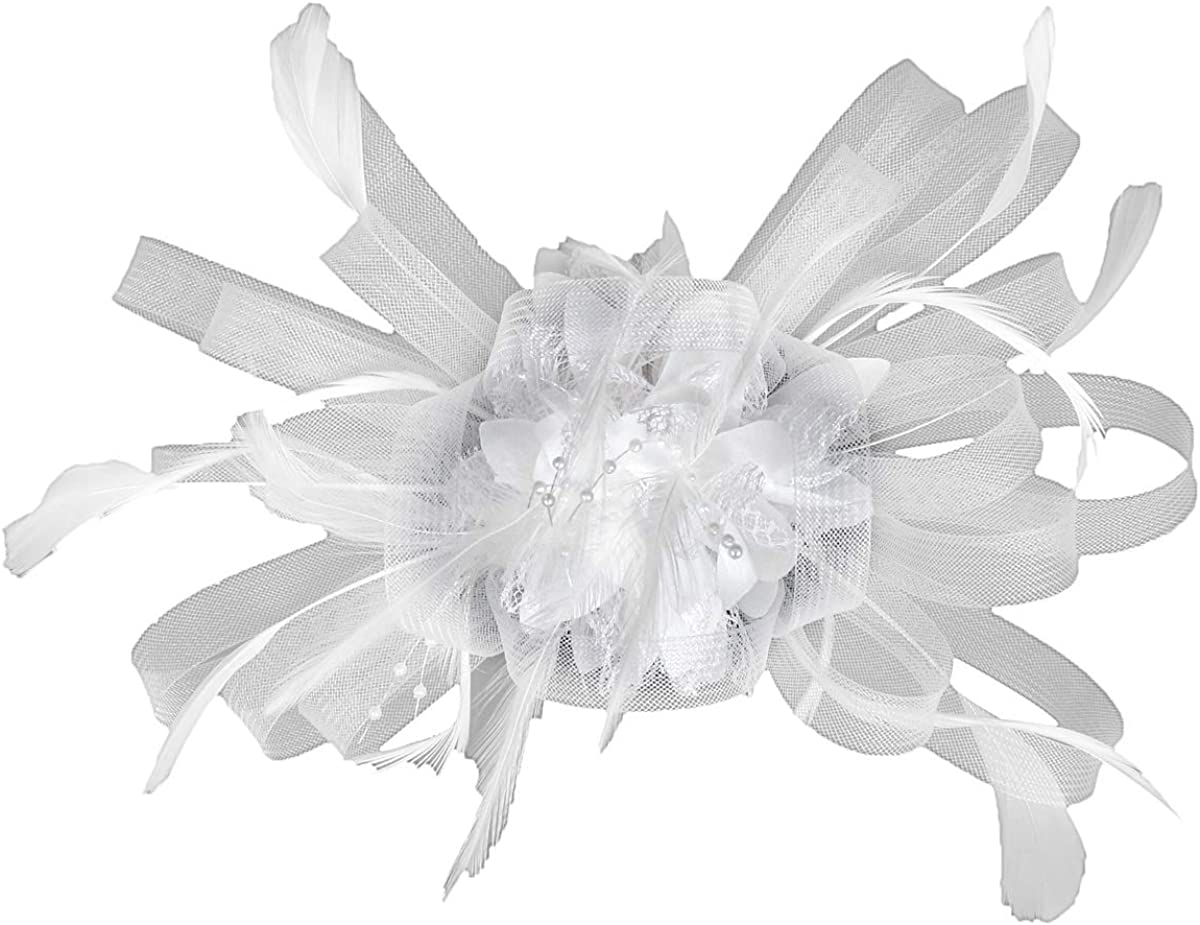 MISOWN Women's Flower Mesh Ribbons Feathers Fascinators Derby Headband and A Clip Wedding Cocktail Tea Party Hat