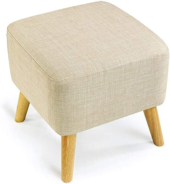 Carl Artbay Wooden Footstool Cream Color Change The Shoe Stool Solid Wood Short Pedal Cloth Bed Stool Simple Home