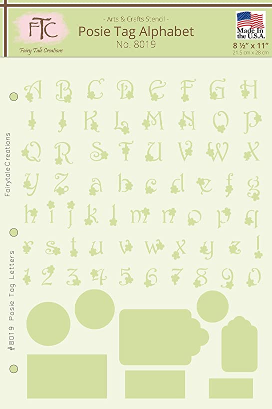 Fairytale Creations Posie Tag Alphabet & Numbers Stencil, 8-1/2