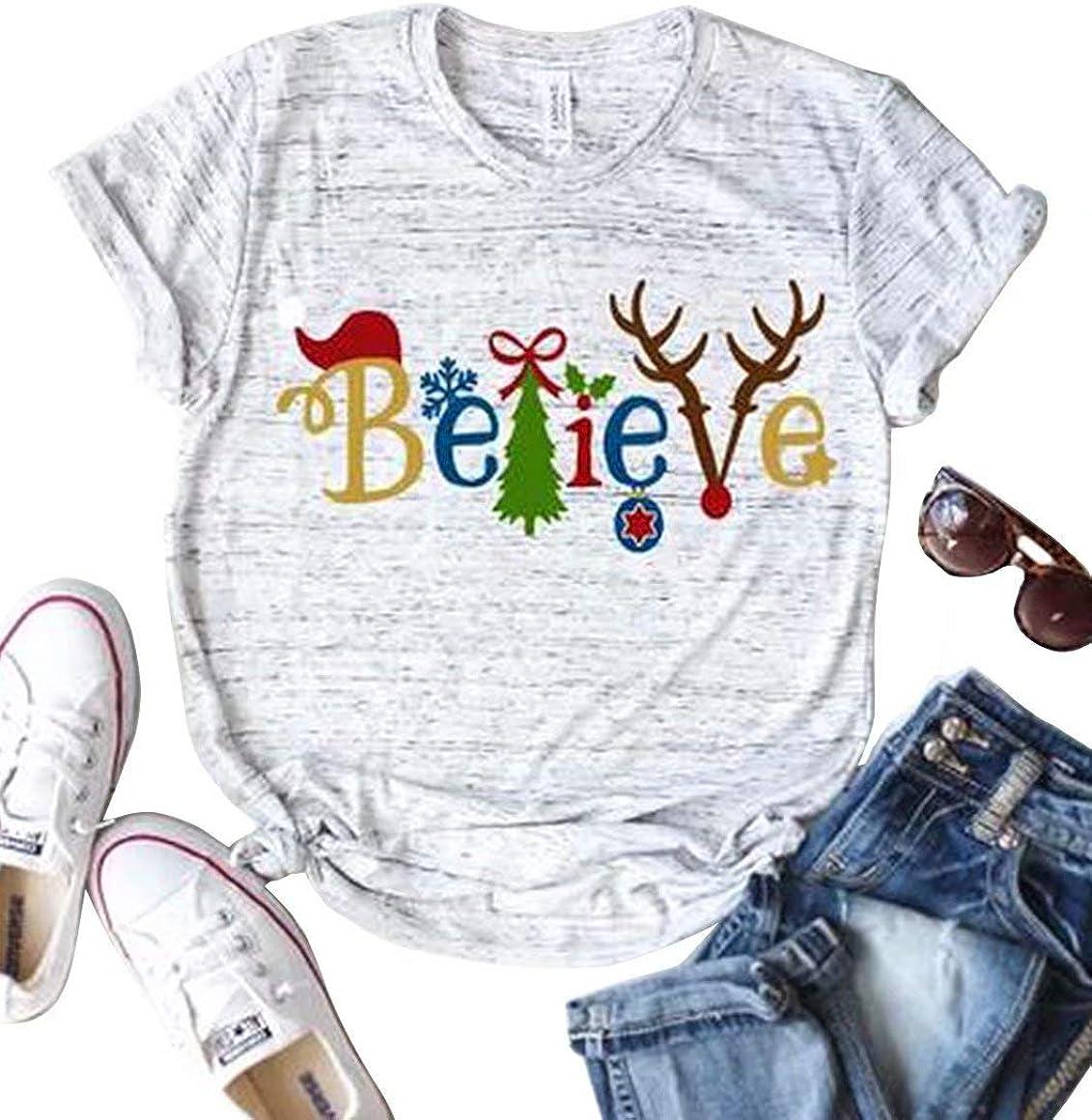 NANYUAYA Believe Women Christmas Popular National uniform free shipping overseas Tree Shirt Printing Letter Cute