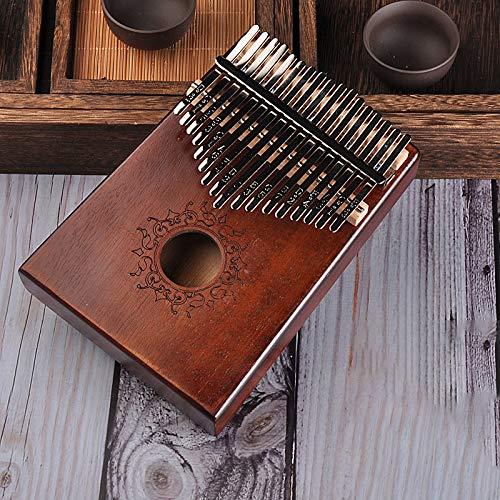 FRRPSG 17 Teclas Kalimba Pulgar Piano Africano sólido Caoba Pulgar Piano 17 Teclas Sólido Madera Kalimba Musical Instrumento Dedo Piano Principiante Dar 1 Conjunto De Accesorios