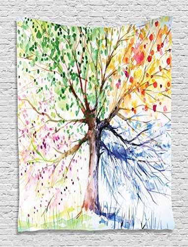 Ambesonne Tree Tapestry, Watercolor Nature Colorful Blooming Branches 4 Seasons Themed Illustration Print, Wall Hanging for Bedroom Living Room Dorm Decor, 40' X 60', White Green