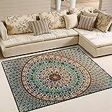 Naanle Ethnic Hippie - Alfombra antideslizante para sala de estar, comedor, dormitorio, cocina, 120 x 180 cm, diseño de mandala floral