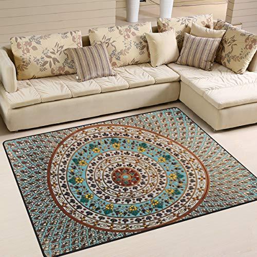 Naanle Alfombra étnica hippie antideslizante para sala de estar, comedor, dormitorio, cocina, 150 x 200 cm (5 pies x 7 pies), diseño floral de mandala, alfombra de yoga