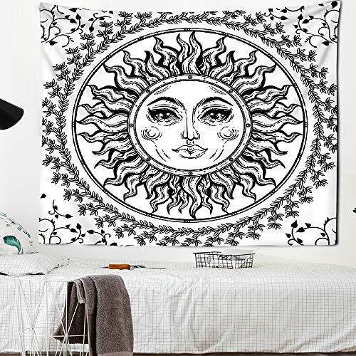 KHKJ Sol y Luna en Blanco y Negro Mandala Tapiz Colgante de Pared Tapiz Celestial Tapiz Dormitorio decoración psicodélico A2 150x130cm