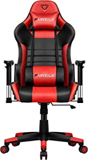 Furgle Gaming Chair Racing Style High-Back Office Chair w/3D Adjustable Armrests PU Leather Executive Ergonomic Swivel Video Game Chairs with Headrest and Lumbar Support (Black & Red)