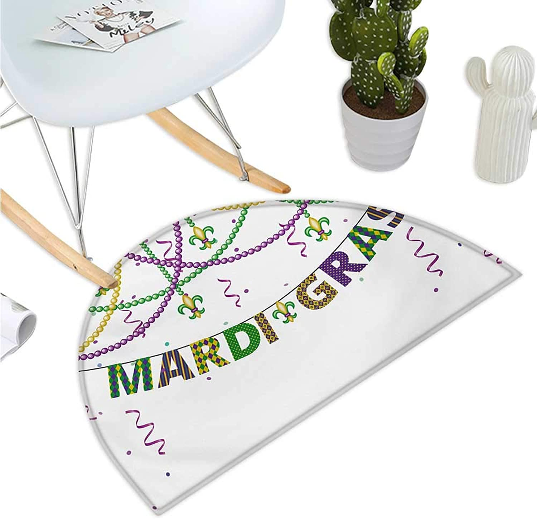 Mardi Gras Semicircle Doormat Festive Design with Fleur De Lis Icons Hanging from colorful Beads Halfmoon doormats H 39.3  xD 59  Purple Green Yellow