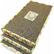Irispets cat scratcher cardboard, cat wide scratching pad, cat scratcher toys, Catnip Included, 3 pack scratcher cardboard