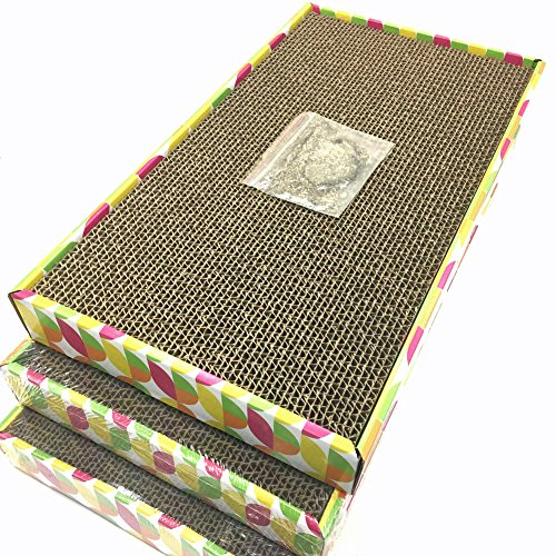 Irispets cat scratcher cardboard, cat wide scratching pad, cat scratcher toys, Catnip Included, 3 pack scratcher cardboard