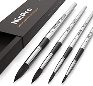 Nicpro 4 PCS Professional Watercolor Paint Brush Set, Artist Squirrel Paint Brushes Round for Painting Gouache Mop