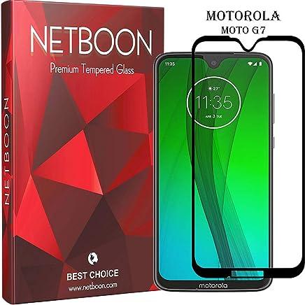 NETBOON Premium Tempered Glass Guard 9H Hardness Curved Edges Full Glue Anti-FingerPrint Screen Protector For Motorola Moto G7 Black (NTC853)