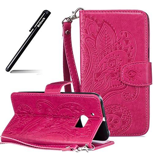 BtDuck HTC 10 Hülle Leder, Brieftasche Flip Cover Portable Carrying Strap Embed Patterned Handytasche PU Leder Schutzhülle für HTC One M10 Tasche Handyhülle (Rote)