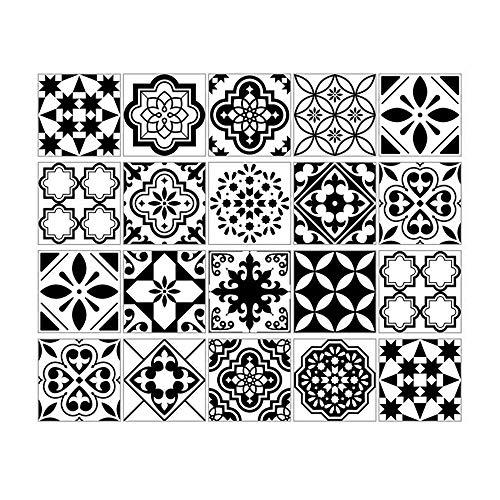 GUO Juego de 20 Pegatinas Decorativas para Azulejos, Pegatinas Adhesivas de Pared para Azulejos Tradicionales Impermeables, Resistentes al Agua, extraíbles a Prueba de Aceite