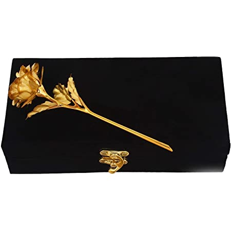 Msa Jewels Artificial Rose And Box (Gold, 1Pc)