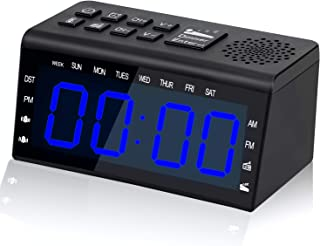 Alarm Clock for Heavy Sleepers Alarm Clock Radio with with FM AM Alarm Clock with USB Charger Alarm Clock for Bedrooms with Sleep Timer Digital Alarm Clock with Battery Operated (Black and Bule)