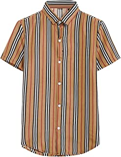 SPE969 Mens Stripe Short Sleeve Shirt, Slim-fit Button Down Printed Splicing Colorful Loose Shirt