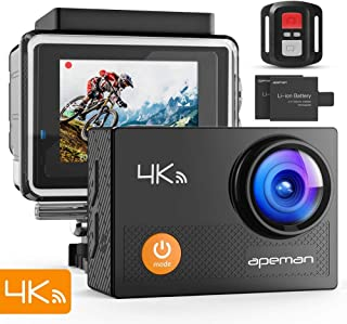 "APEMAN Action Camera 4K WiFi 16MP Waterproof Underwater Camera Ultra Full HD Sport Cam 30M Diving with 2"" LCD 170 Degree Wide-Angle, 2.4G Remote Control, 2 Rechargeable Batteries, 20 Accessories Kits"