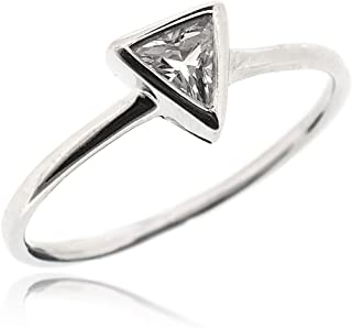 Classic Solitaire Triangle Ring for Women Set with White Cubic Zirconia 925 Sterling Silver Rhodium Plated - Tarnish Resistant Comfort Fit Wedding Engagement Ring Band