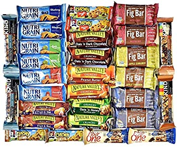 Snack Variety Pack Healthy Bars Sampler & Care Package in a Blue Ribbon Gift Box  30 Counts  College Students Military Women Men Adult Kid Teens