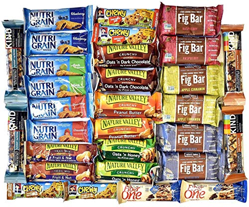 Snack Variety Pack, Healthy Bars Sampler & Care Package in a Blue Ribbon Gift Box (30 Counts)...