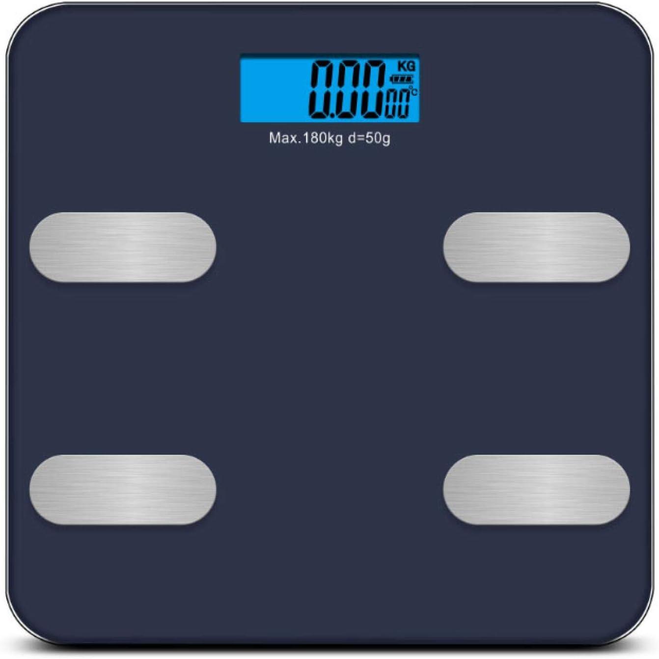 Báscula de grasa corporal digital de alta sensibilidad, balanza inteligente de peso corporal conectada baño de grasa corporal báscula de peso humano de peso corporal negro