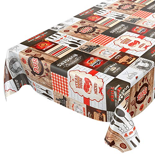 ANRO Wachstuch Tischdecke abwaschbar Wachstuchtischdecke Wachstischdecke BBQ Grill Garten Rot 200x140cm