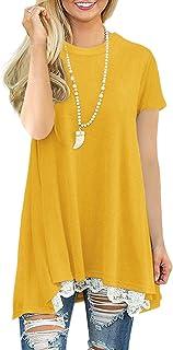 Exlura Women's Casual Lace Short Long Sleeve Tunic Top T-Shirt Blouse