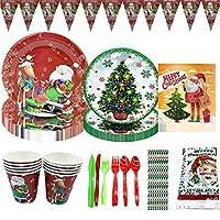 クリスマスパーティー用品使い捨て食器セット 誕生日 飾り付け 可愛い パーティセット紙皿 紙コップ食器セット (92pcs)