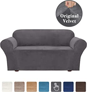 Luxury High Spandex Soft Brush Furniture Protector 1 Piece Stretch Stylish Furniture Cover/Protector Featuring Velvet Plush Fabric, Skid Resistance - 2 Seater Loveseat Cover, Gray