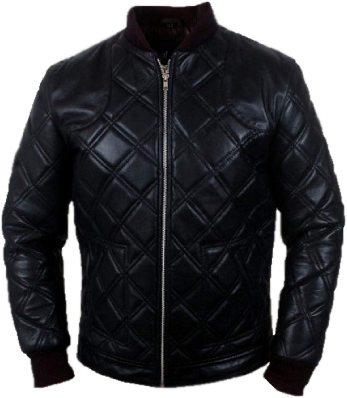 Erha Accessories David Beckham Milan Biker Style Full Quilted Black Real Sheepskin Leather Jacket for Men's
