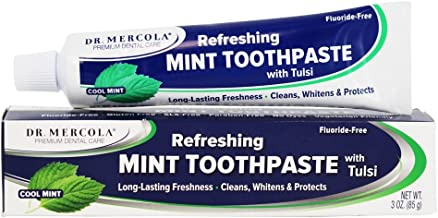 Dr. Mercola, Refreshing Mint Toothpaste with Tulsi, 3 oz (85 g), Fluoride-Free, SLS Free, Paraben Free, No Dyes, Vegetarian Friendly, No Harsh Chemicals, non GMO, Soy Free, Gluten Free