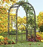 "Plow & Hearth Montebello Decorative Scrollwork Metal Garden Arbor Landscape Accent with Gate, Burnished Gunmetal Finish and 7"" Ground Stakes, 53"" W x 23"" D x 84"" H"
