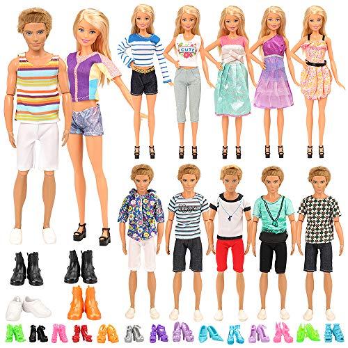 Miunana Lot 21 Kleidung = 6 Freizeitbekleidung Set + 4 Paar Schuhe für Jungen Puppen + 6 Kleider + 5 High Heels für 11,5 Zoll Mädchen Puppen