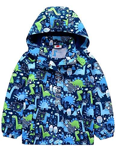 Echinodon Jungen Gefütterte Outdoorjacke Wanderjacke wasserabweisend Winddicht Kinder Jacke Regenjacke Übergangsjacke Blau 110-116