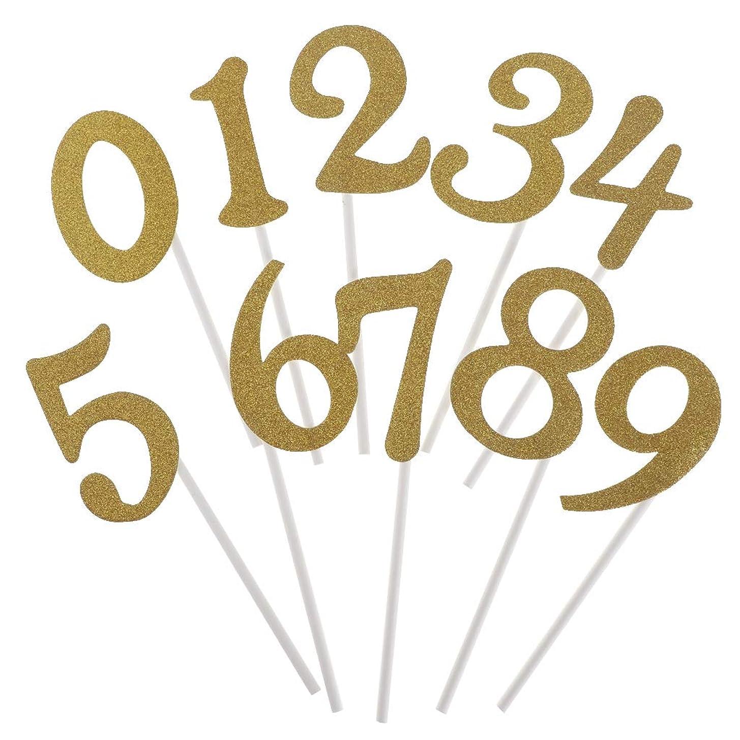 パッドライム広まったSharplace 10本 ケーキトッパー ナンバー 数字 誕生日ケーキ 記念日 パーティー 2色選べ - ゴールド