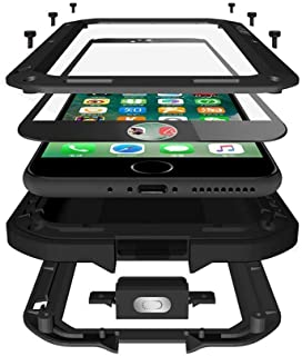 CarterLily iPhone 7 Plus Case, iPhone 8 Plus Case, Full Body Shockproof Dustproof Waterproof Aluminum Alloy Metal Gorilla Glass Cover Case for Apple iPhone 7 8 Plus 5.5 inch - Black