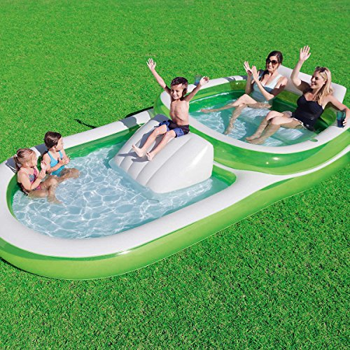 Bestway H2OGO! Two-In-One Wide Inflatable Family Outdoor Pool, Features Dual...