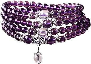 Felix Perry 6mm Yoga Meditation Simulated 108 Prayer Beads Simulated Crystal Amethyst/Topaz Mala Wrap Bracelet Necklace (Citrine Beads)