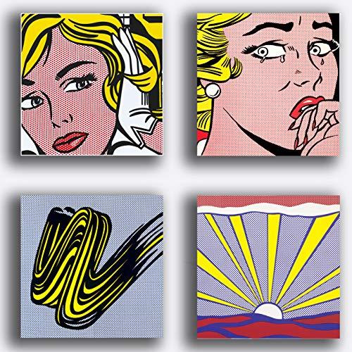 Cuadros modernos estilo LICHTENSTEIN 4 piezas 40 x 40 cm Pop Art Impresión sobre lienzo Canvas Decoración Arte Abstracto XXL Decoración para salón, dormitorio, cocina, oficina, bar, restaurante
