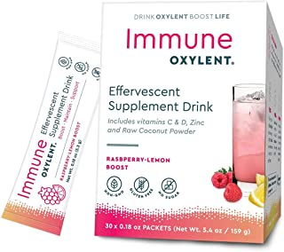 Oxylent Immune Effervescent Supplement Drink - Sugar-Free, Easy Absorption of Vitamins, Minerals, Coconut Water, Himalayan Pink Salt for Hydration & Immune Support, Raspberry-Lemon Boost, 30 Count